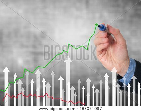 Businessman Hand Drawing Graph Of Growth On Visual Screen