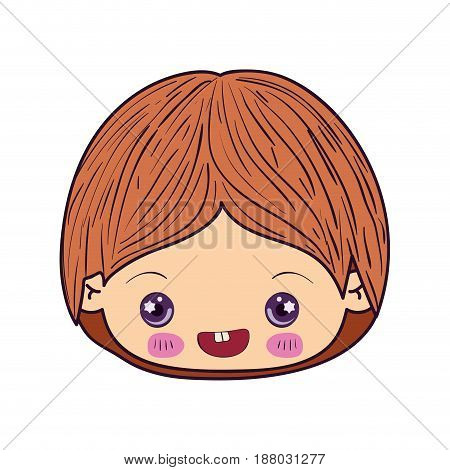 colorful caricature kawaii face little boy smiling vector illustration