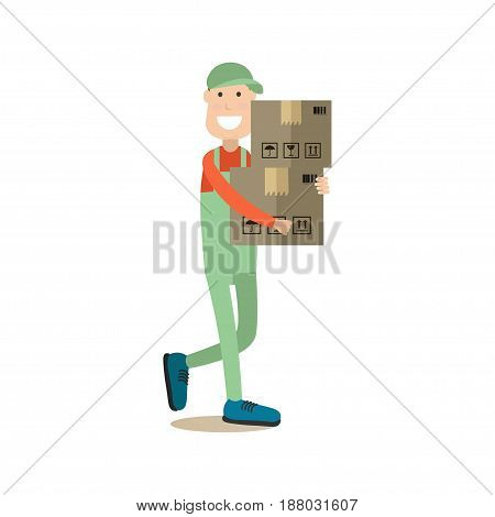 Vector illustration of loader man with cardboard boxes. Delivery people concept flat style design element, icon isolated on white background.