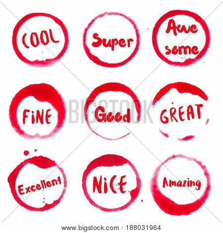 Feeling Good Collection Of Round Watercolor Stains With Cool, Super, Fine, Good, Great, Excellent, N