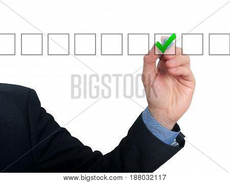 Businessman Checking Mark Checklist Marker Isolated On White Background