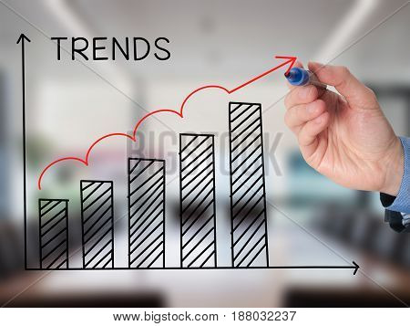 Businessman Hand Drawing Growth Trends Chart Isolated On Office Background