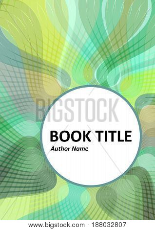 Book brochure or flyer cover design with waved overlapping strips in green color