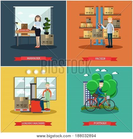 Vector set of mail delivery posters. Manager, Packer, Loading machine and Postman flat style design elements.