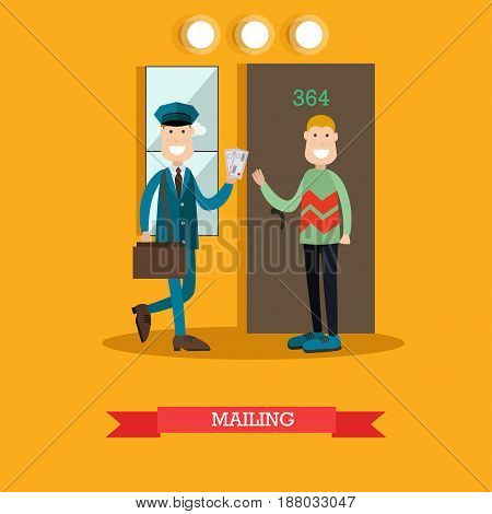 Vector illustration of postman delivering letters to receiver man. Cheerful smiling mailman with post bag and letters. Home delivery. Mailing concept design element in flat style.