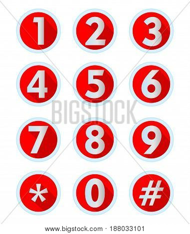 A set of numbers and computer symbols in modern flat design metallic numbers with long shadow in circle button