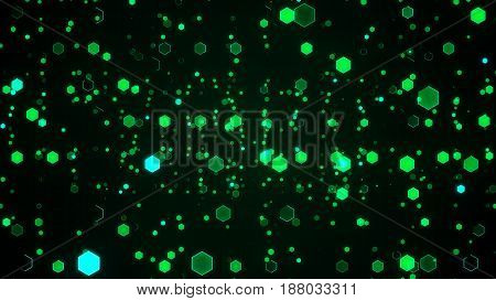 Abstract Technological Background With Green Luminous Hexagons.