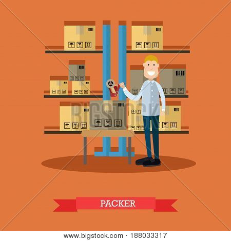 Vector illustration of postal worker standing next to shelves with parcels, cardboard boxes ready for dispatching. Packer concept design element in flat style.