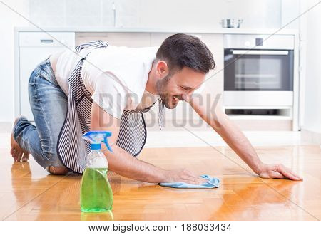 Man Cleaning Floor
