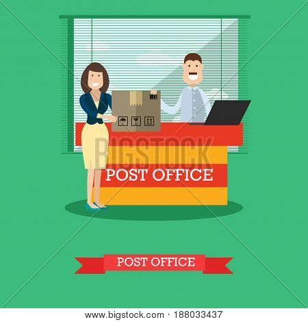 Vector illustration of postal worker male and woman receiving or sending parcel. Delivery service. Post office concept design element in flat style.