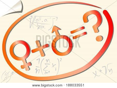 Gender mathematical equation with female and male symbol on the background with scientific notation on paper with rolled corner
