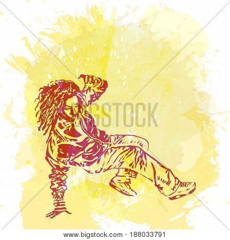 Girl street dancer. Breakdancer on a watercolor style background