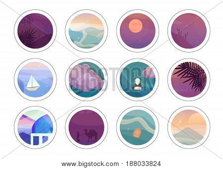 Romantic painting circles with different low polygon style textures. Vector landscapes illustration. Trendy stickers set.