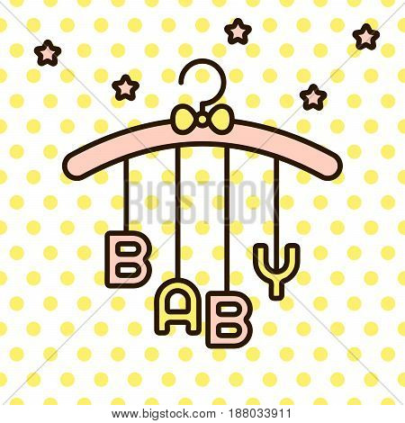 Baby word hanging on rack with bow vector. Cute infant mobile toy on polka dot yellow background.