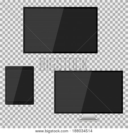 Set of realistic modern blank screen lcd led TV monitor pad on isolate background. Vector illustration