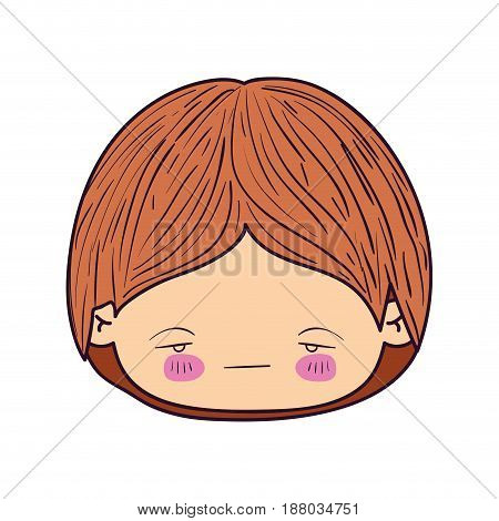colorful caricature kawaii face little boy with facial expression nervous vector illustration