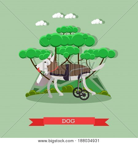 Vector illustration of disabled or handicapped dog in a wheelchair. Dog mobility aid flat style design element.