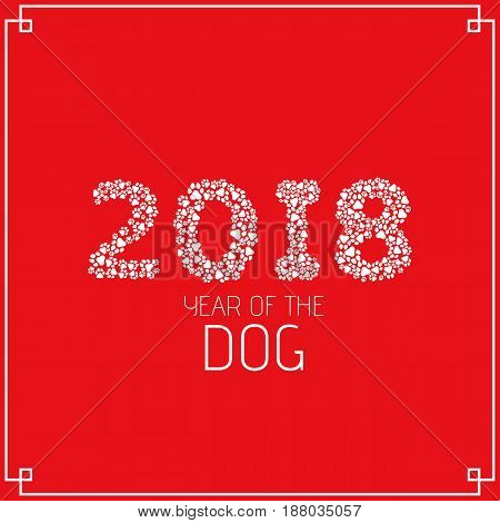 2018 year of the earth dog. Figures from the dog tracks. Footprints of a dog on a white background. Vector illustration in a flat style