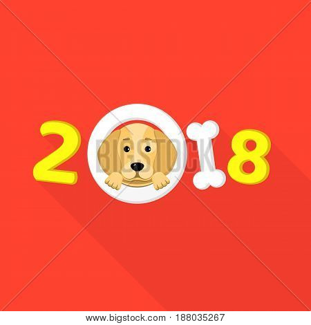 Happy New Year. The year 2018 is a yellow earth dog. A lovely cartoon dog looks. Cartoon figures with a shadow. Cover for the calendar. Vector illustration in a flat style