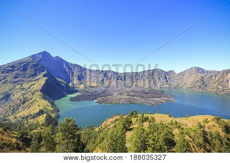 Panorama view of Mountain Rinjani active volcano at Lombok island of Indonesia