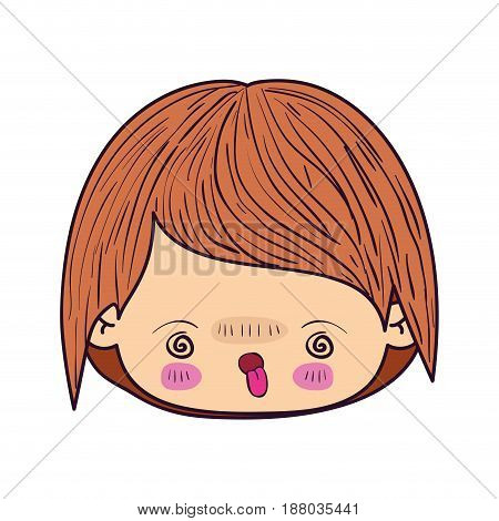 colorful caricature kawaii face little boy with facial expression furious vector illustration