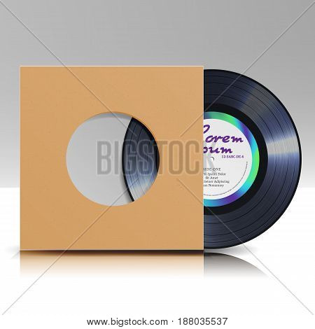 Vinyl Disc. Blank Isolated White Background. Realistic Empty Template Of A Music Record Plate With Blank Cover Envelope. Vector