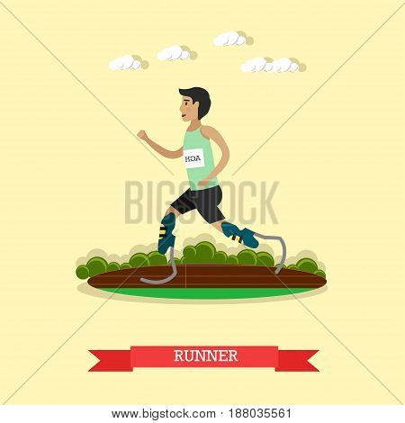 Vector illustration of disabled young man running on prosthesis. Paralympic athlete running on artificial sports feet. Blade runner flat style design element.