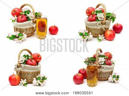 apples and glass of juice on a white background. horizontal photo.