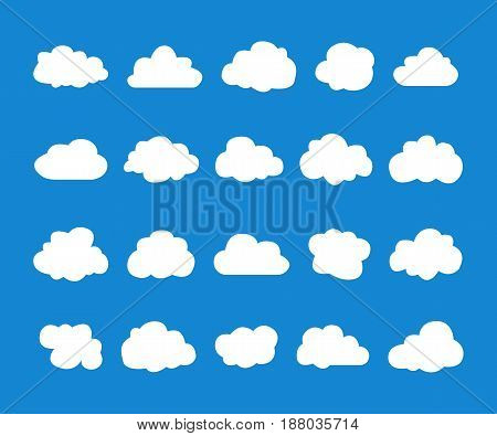 Collection of vector clouds on blue background