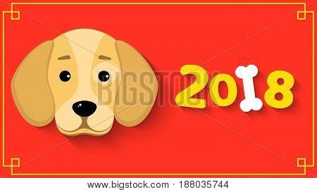 Happy New Year. The year 2018 is a yellow earth dog. A lovely cartoon dog looks. Cartoon figures with a shadow. Red background with yellow pattern. Cover for the calendar. Vector illustration in a flat style