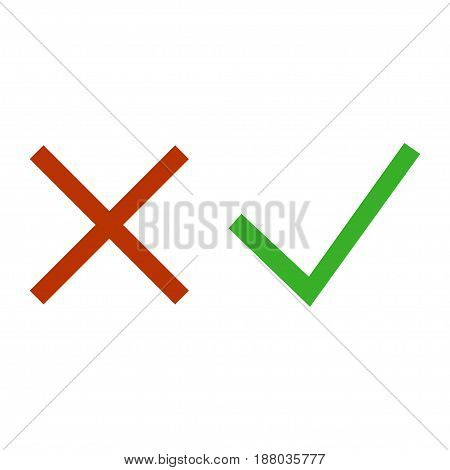 Green Check, Tick And Red Cross Signs Isolated On White Background. Symbols Yes And No. Vector Illus