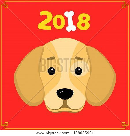 Happy New Year. The year 2018 is a yellow earth dog. A lovely cartoon dog looks. Cartoon figures. Red background with yellow pattern. Cover for the calendar. Vector illustration in a flat style