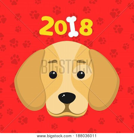 Happy New Year. The year 2018 is a yellow earth dog. A lovely cartoon dog looks. Cartoon figures. Red pattern from the tracks. Cover for the calendar. Vector illustration in a flat style