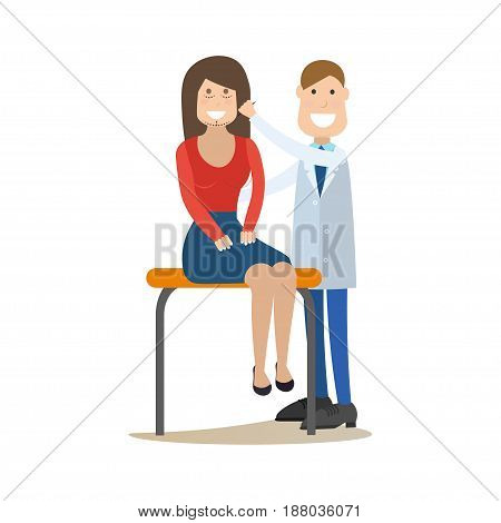 Vector illustration of doctor male plastic surgeon examining his patient female. Medical practitioner flat style design element, icon isolated on white background.