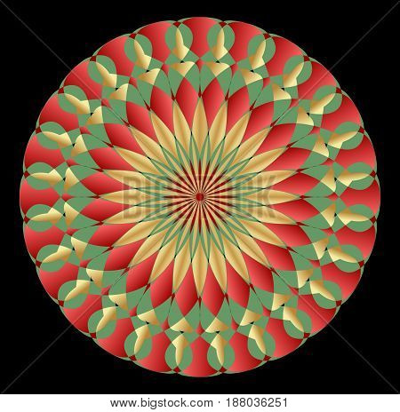 Geometric symmetric colorful rosette in art deco style with gradient elements