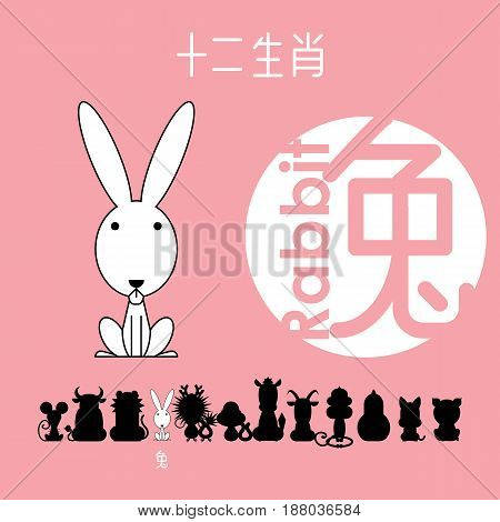 Chinese zodiac sign rabbit(bunny) with Chinese character
