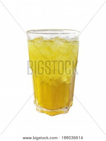 Glass of cold chrysanthemum tea isolated on white background