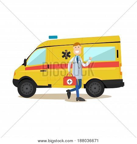 Vector illustration of ambulance car and doctor paramedic male with emergency bag standing next to it. Medical worker flat style design element, icon isolated on white background.