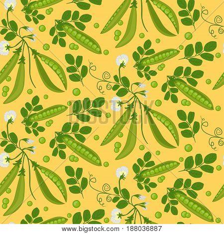 Seamless Background Of Ripe Green Peas. Pattern