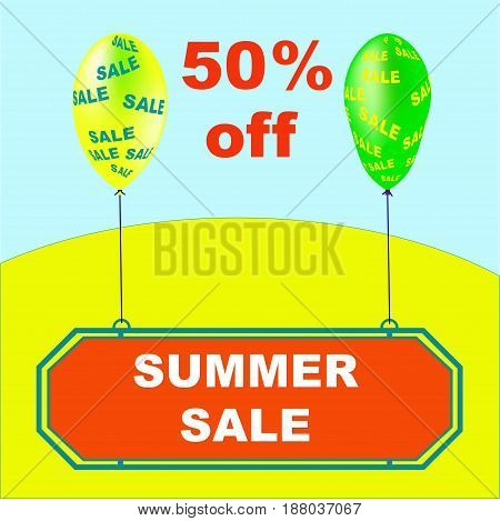 Summer Sale vector illustration. Holiday promotional design element with balloons.