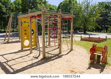 Empty playground on a sunny day. City
