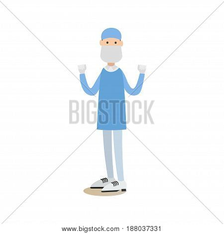 Vector illustration of doctor male surgeon in surgical scrubs, cap, mask and gloves standing with arms raised. Medical practitioner flat style design element, icon isolated on white background.