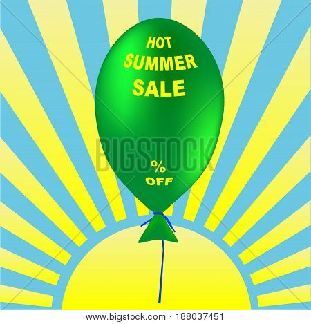 Summer Sale vector illustration. Holiday promotional design element with balloons. Empty space for value
