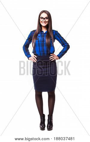 Full-body Business Woman Smiling Isolated Over A White