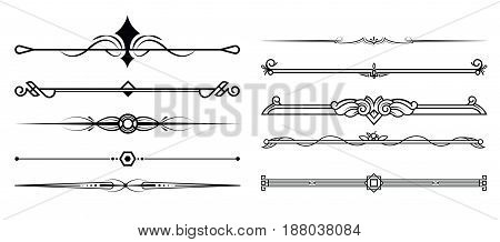 Set of decorative elements border and page rules frame. vector illustration.