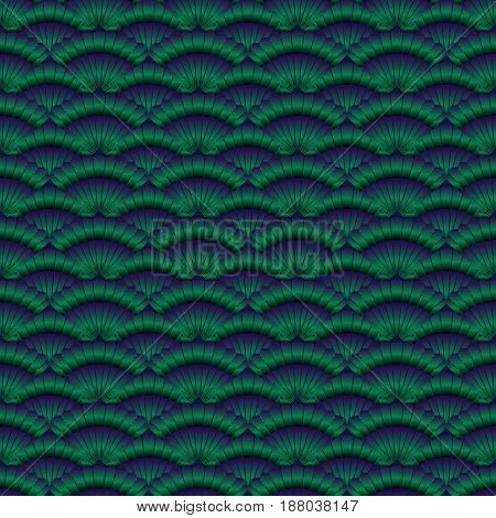 Asian green gradient seamless pattern with scallop. Abstract background for textile paper wrapper print for fabric. Vector illustration