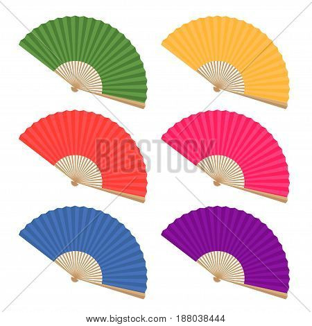 Colored Japanese fans on a white background.