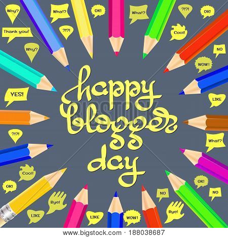 Happy Blogger day vector illustration. 14 june world social media holiday event label, greeting card decoration graphic element.