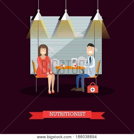 Vector illustration of nutritionist or dietician doctor male consulting his patient female. Medical clinic interior. Flat style design.