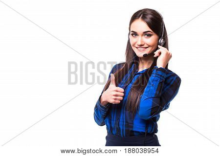 Portrait Of Happy Smiling Cheerful Customer Support Phone Operator In Headset Showing Thumbs Up Gest